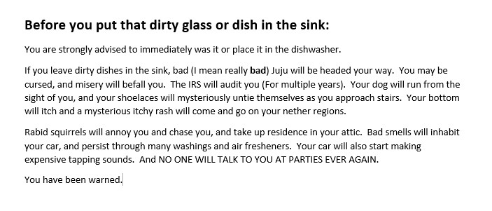 Dirty dishes warning sign