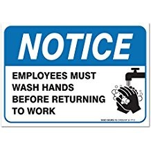 Employees Must Wash Hands Sign, Before Returning to Work, 4 Mil Sleek Vinyl Decal Stickers